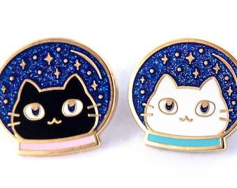 Space Cats - Cute Hard Enamel Pins - Lapel Pin Gift Stocking Stuffer