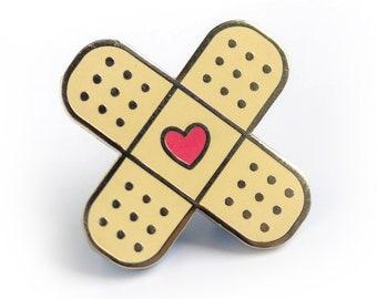 Heart Bandage - Hard Enamel Pin - Cute Lapel Pin Gift Stocking Stuffer