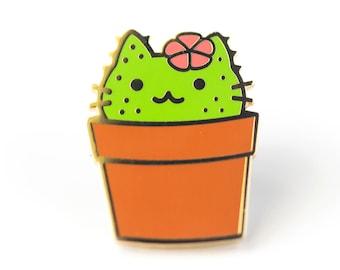 Cactus Cat - Hard Enamel Pin - Cute Lapel Pin Gift