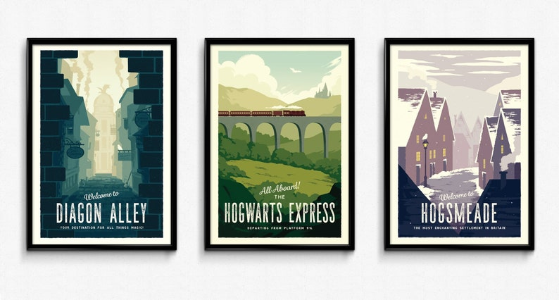 Magic Retro Travel Posters  Set of 3 Bundle  Vintage Poster image 0