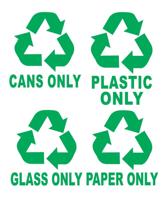 Recycle Symbols Cans Plastic Glass Paper Trash Bin Garbage Etsy