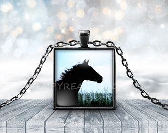 HORSE PENDANT, Horse Necklace, Equine Jewelry, Equestrian Jewelry, Equine Necklace, Horse Keychain, Horse Silhouette, Wearable Art