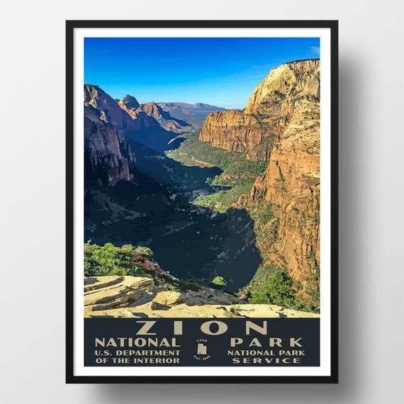 Zion National Park Poster Vintage Wpa Style Travel Poster Etsy