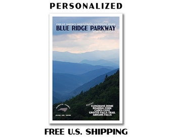 Personalized Smoky Mountains Poster, national park poster, park print, Smoky Mountains national park, travel poster, blue ridge parkway
