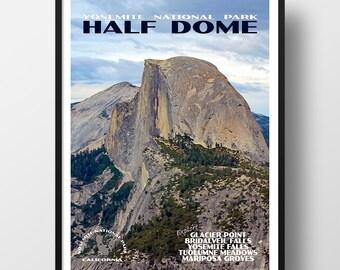 Yosemite Poster, yosemite print, national park print, national park poster, travel poster, yosemite national park, half dome