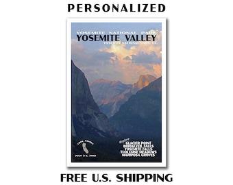Personalized Yosemite Poster, yosemite print, national park print, national park poster, travel poster, yosemite national park, half dome