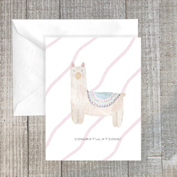 Minimal Gifts pink and white New Baby greeting card Its a girl New mom Watercolor card Baby shower Congratulations watercolor art