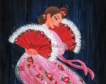 Original Traditional Korean Fan Dance Painting