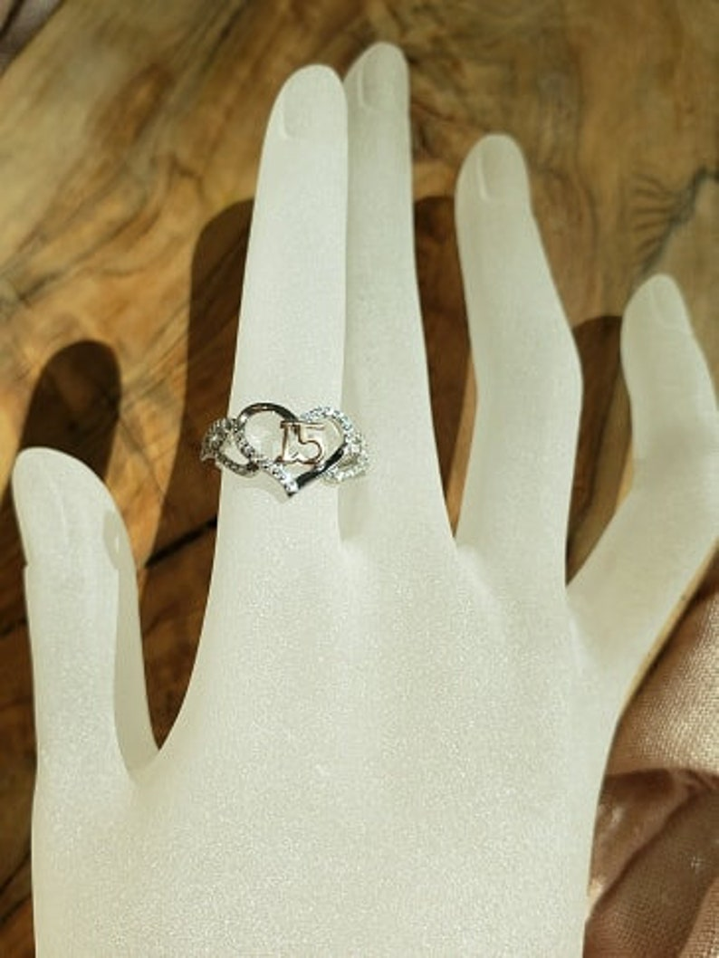 925 Sterling Silver /& CZ Ring,15th Birthday Ring,15th Anniversary Ring,15 Ring,Heart Ring,Silver and Gold Ring,Crystal Heart Ring,Women Ring