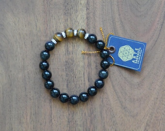Obsidian and Tiger's Eye Quartz Bracelet