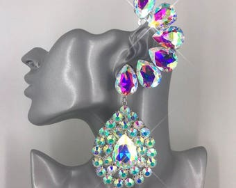 3834a589d CUFF Large Statement Drag Queen Crystal Earrings. Displayed in Aurora  Borealis AB. Clip On & Pierced Available. Colour Options Available.