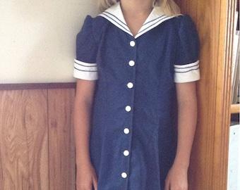 1940's Girls Sailor Style Dress size 8