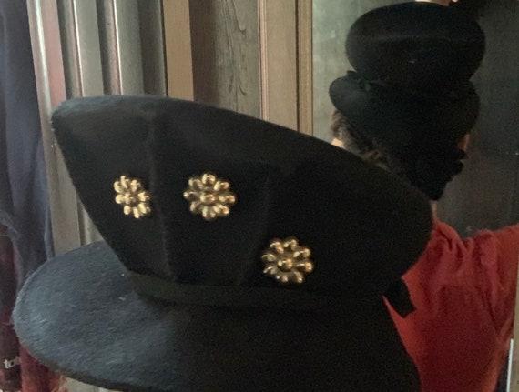 Vintage 1930's Black Wool Pleated Tilt Hat with Fl