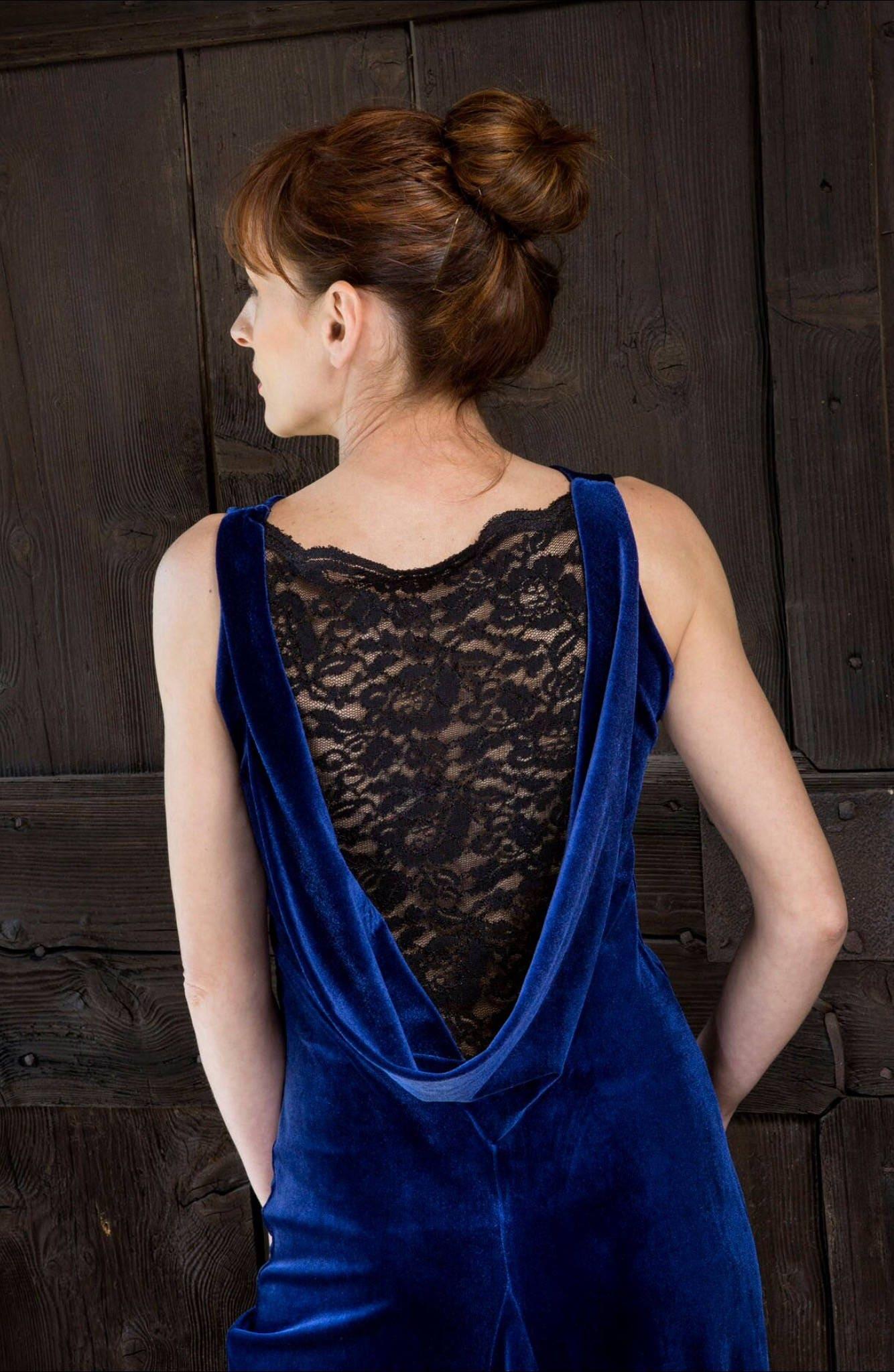 aca7f429126 Draped back argentine tango dress in velvet   lace Argentine