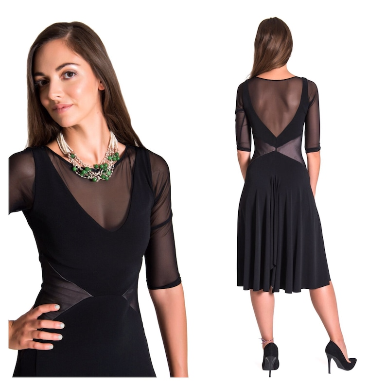 bfca6300c24a Black Argentine Tango dress with sleeves   Etsy