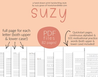 THE SUZY: Printable Handwriting Worksheets (PDF File Only) From How To Handletter | Print Everyday Handwriting Style