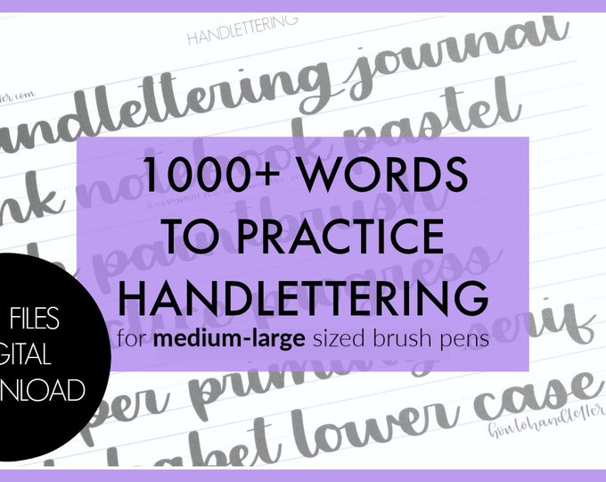 Featured listing image: Digital Download 1000 Practice Words - Printable Lettering Practice Sheets | How to Handletter
