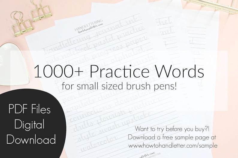1000+ Practice Words for Smaller Sized Brush Pens | How to Handletter  Worksheets