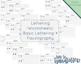 Lettering Worksheets - Set 3 - Faux Calligraphy Lettering - Fauxligraphy Lettering Practice Sheet