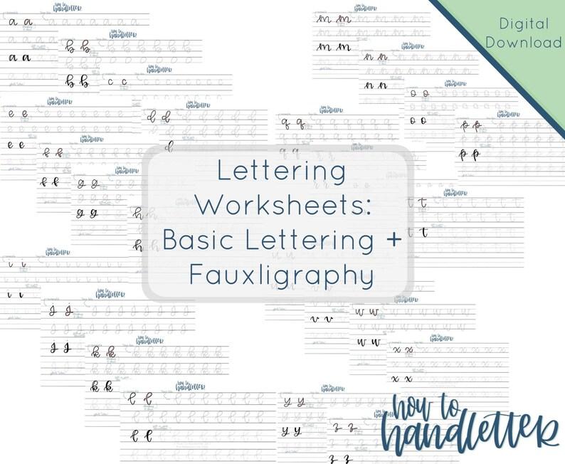 Lettering Worksheets  Set 3  Faux Calligraphy Lettering  image 0