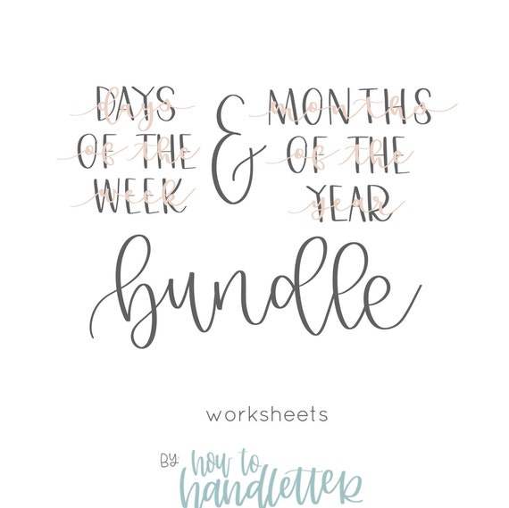 Handlettering Worksheets Months Of The Year Bouncy Etsy