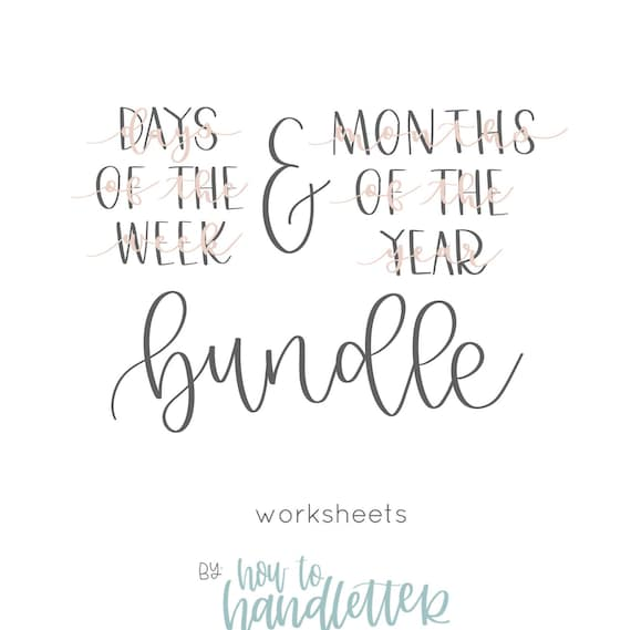 Handlettering Worksheets Months Of The Year Bouncy