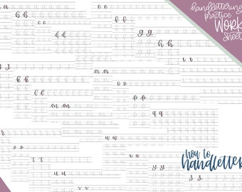 Handlettering Worksheets - Set 2 - Brush Lettering Small Size - Modern Calligraphy Practice Sheets