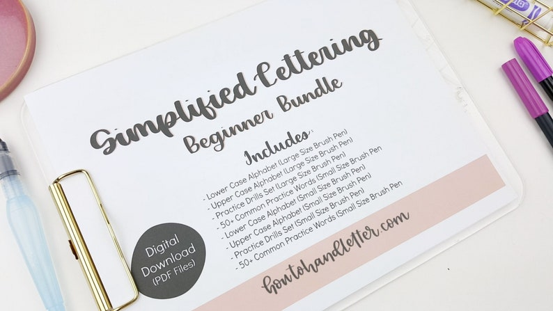 Digital Download Simplified Lettering Worksheet Bundle Upper & image 0