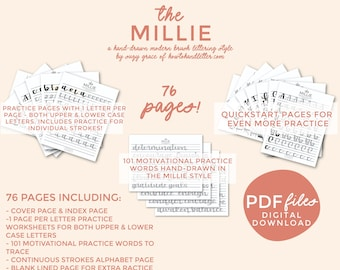 THE MILLIE: Printable Handlettering Worksheets (PDF File Only) From How To Handletter | Brush Script Style