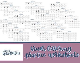 Lettering Worksheets Set 1 - Large Brush Pen or Watercolor Lettering Practice Sheets - Handlettering Practice Sheets