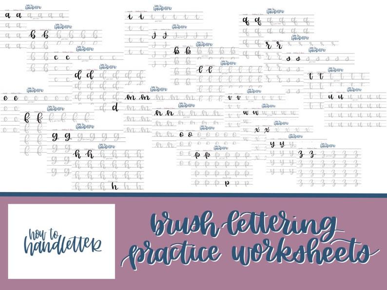 Lettering Worksheets Set 1  Large Brush Pen or Watercolor image 0