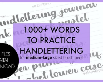 Digital Download 1000 Practice Words - Printable Lettering Practice Sheets | How to Handletter