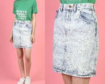 281e20c80b7d40 80s Acid Wash Jean Skirt - Small to Medium, 27.5