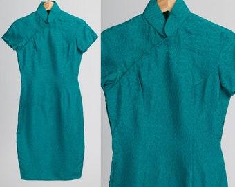Vintage 60s Chinese Silk Flare Sleeve Mini Dress UK 14