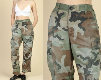 b1a2817eb55ba Vintage Distressed High Waisted Camo Pants - Men's Small | 80s Military  Olive Drab Camouflage German Army Trousers