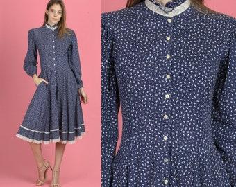 4dd43f4293ba3 70s Gunne Sax Calico Floral Prairie Dress - Small | Vintage Navy Blue Lace  Trim Boho Pocket Midi