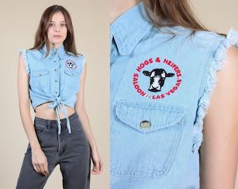 d2297bdf Vintage Hogs & Heifers Denim Crop Top | 90s Jean Tie Front Button Up Shirt  - Small