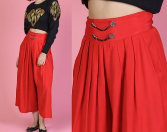 9219a06cd 80s Red Wide Leg Pleated Chain Palazzo Pants - Medium