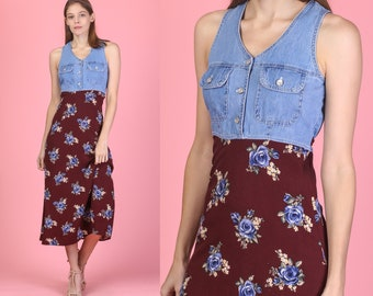 e6e78679aa33e 90s Grunge Denim Floral Midi Dress - Extra Small | Vintage Button Up Jean  Bodice Rayon Skirt Dress