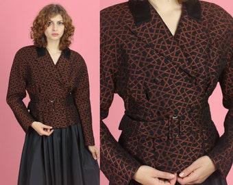 706207e784c75f Vintage Karl Lagerfeld 80s Belted Jacket - Medium | Designer KL Made In  Germany Cinched Waist Suit Blazer