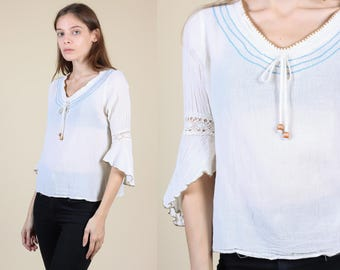 060e3457 Vintage Hippie Blouse | 90s does 70s Boho Sheer Embroidered Peasant Top -  Small