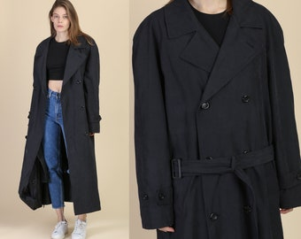 Vintage Black Trench Duster Jacket - 42L  7d96a5eb5