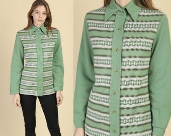 Medium 70s Mod Blue Pointed Collar Shirt Vintage Button Up Long Sleeve Overshirt Disco Top