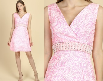 aea326e0d825d 60s Pink A Line Party Dress - Extra Small | Vintage Floral Beaded Waist V  Neck Mini