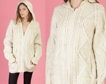 6dd80ac1e3 Vintage Cable Knit Zip Up Hooded Cardigan - Extra Large
