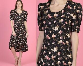 4edfdb4cc93f19 80s Grunge Floral Puff Sleeve Midi Dress - Small to Medium