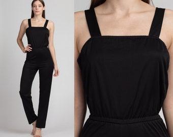 Black Disco Jumpsuit 70s Pantsuit Slim Skinny Pants Vintage Romper Pants 80s High Waisted Boho Spaghetti Strap Retro Small Medium