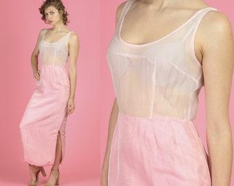 4f103d8e 1960s Two Tone Pink Sheer Bodice Slip Dress - Small to Medium   Vintage 60s  Boho Column Maxi