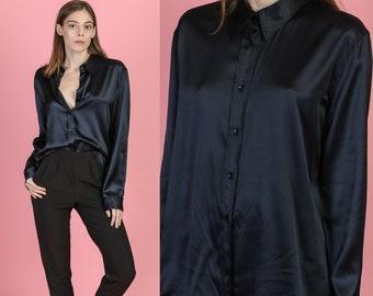 5a32ebc63450b 90s Minimalist Black Silk Stretch Blouse - Extra Large