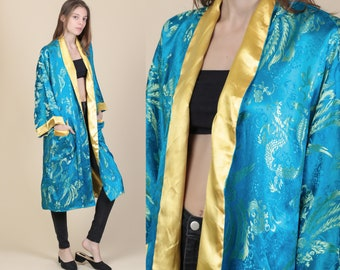 Vintage Chinese Reversible Blue   Gold Dragon Robe - One Size  e47945aa6